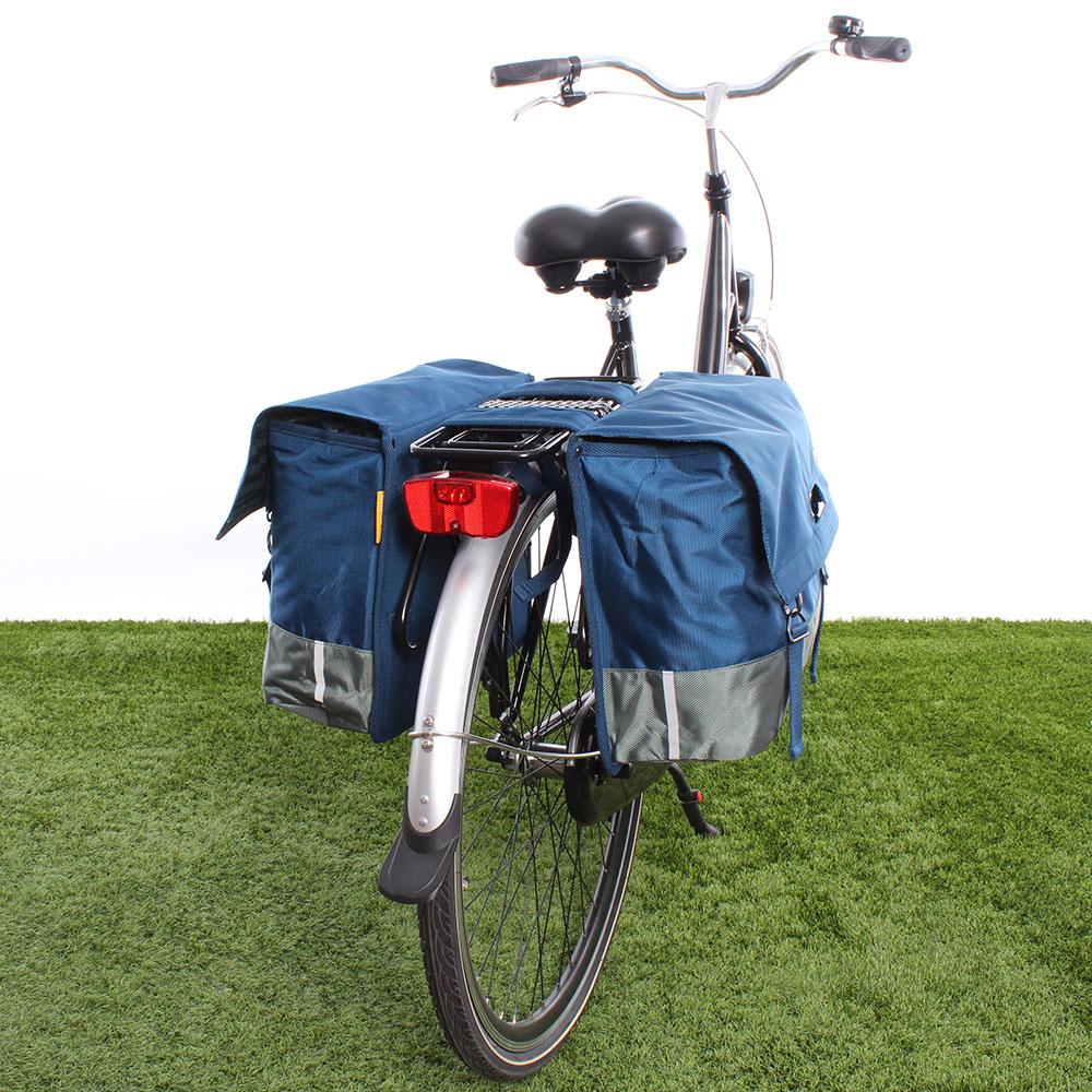 Dubbele fietstas 40L Recycled - Blauw/Groen