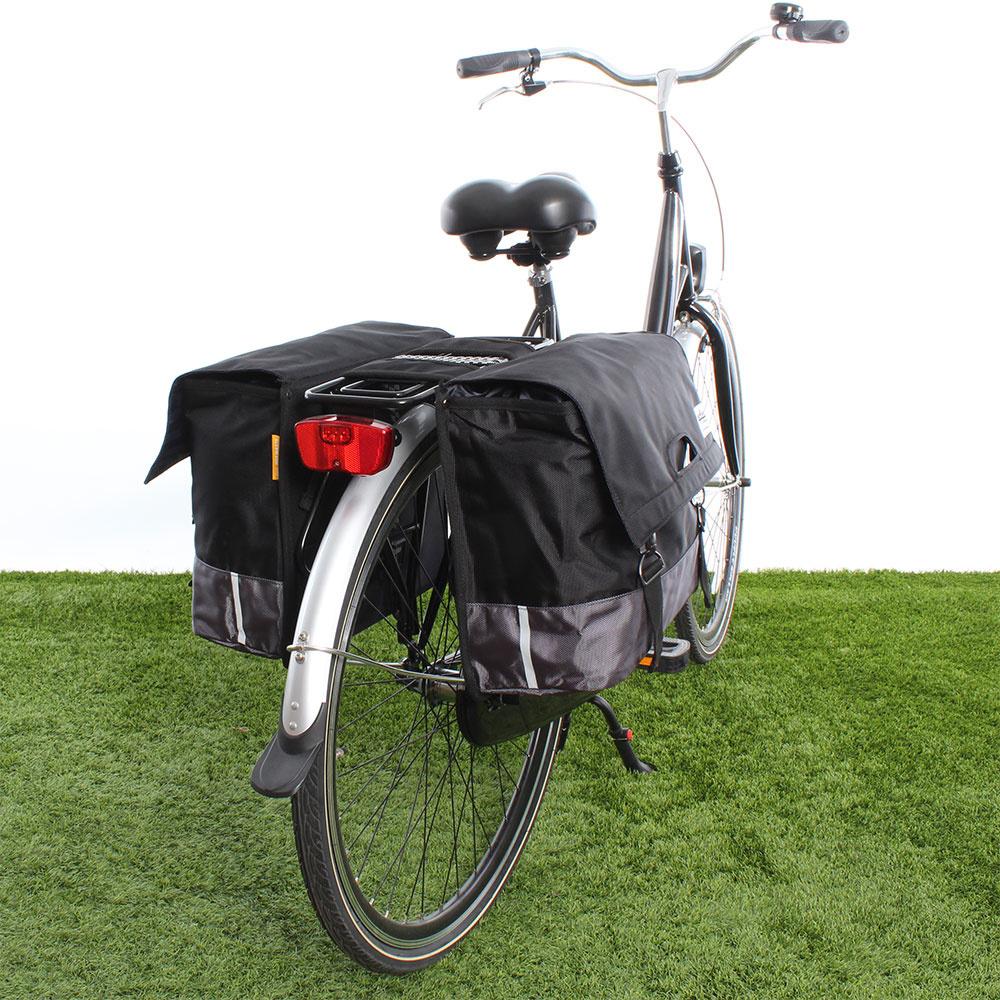 Dubbele fietstas 40L Recycled - Zwart/Grijs