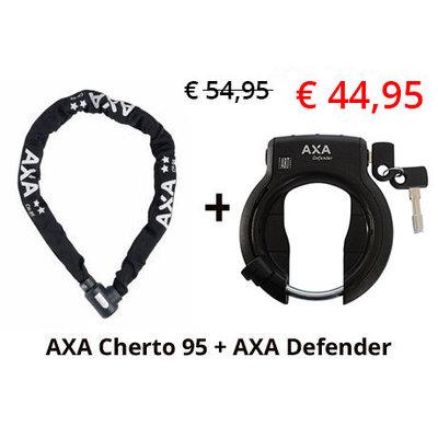 AXA 2e fietsslot aanbieding: AXA Cherto Compact 95 + AXA Ringslot Defender
