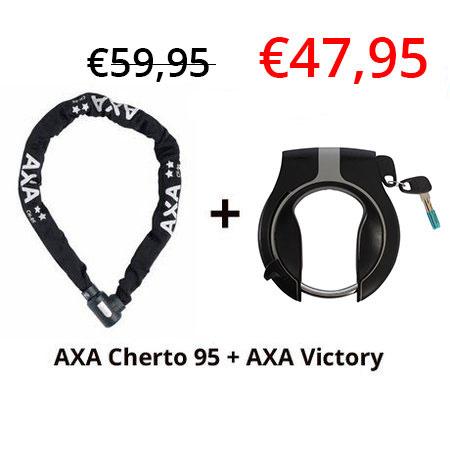 2e fietsslot aanbieding: AXA Cherto Compact 95 + AXA Ringslot Victory
