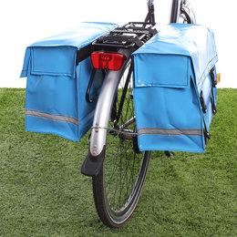 De Poort Dubbele fietstas Lichtblauw 46L