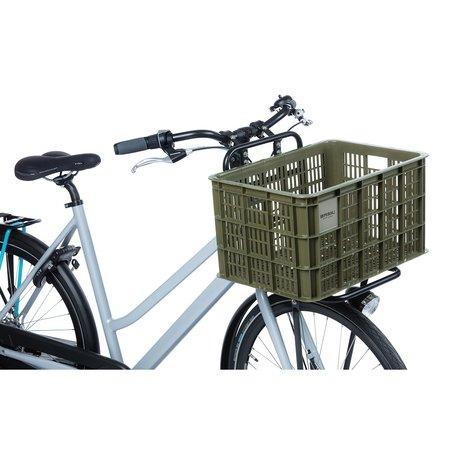 Basil Fietskrat Crate L 40L Moss Green voor MIK/Racktime