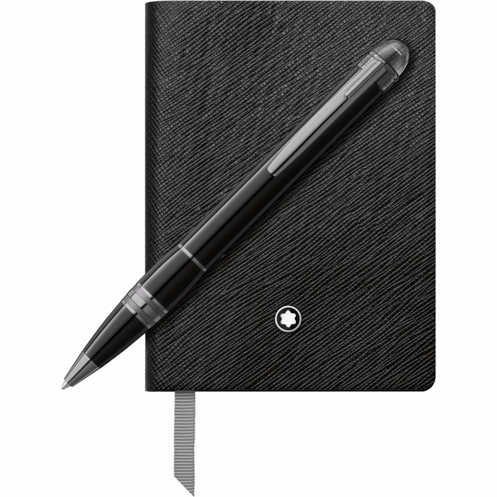 Montblanc Set with StarWalker Midnight Black Ballpoint Pen and Notebook #145 black, lined