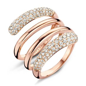 Tirisi Jewelry Ring Amsterdam Bogen Met 2 Vlakken Pavé