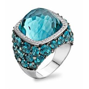 Tirisi Jewelry Ring Doha Blauw Topaas