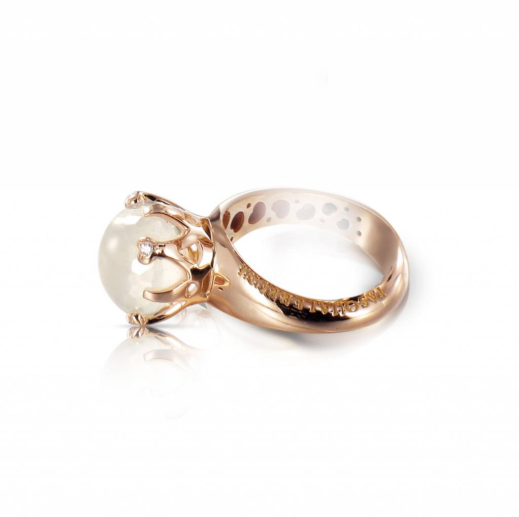 Top Pasquale Bruni Sissi io Amo Ring 18K Roodgoud melkkwarts - Luxury #CN09