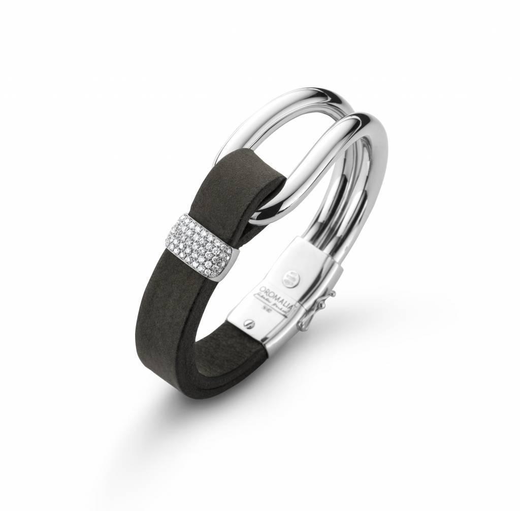Oromalia witgouden armband diamant leder breed