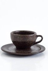 """Two espresso cups with saucers """"coffee grounds"""""""