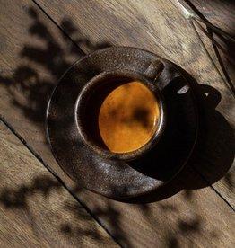 """4 x Espresso Tassen mit Untertassen """"Kaffeesatz"""""""