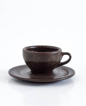 """Vier Espresso Tassen mit Untertassen """"Kaffeesatz"""""""