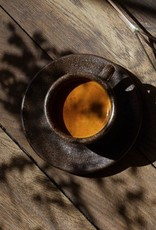 """Acht Espresso Tassen mit Untertassen """"Kaffeesatz"""""""
