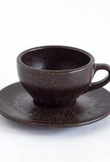 "Two Cappuccino cups with saucers ""coffee grounds"""