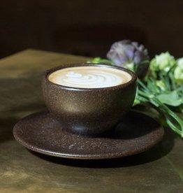 """4 x Cappuccino Tassen mit Untertassen """"Kaffeesatz"""""""