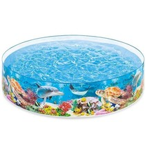 Large inflatable pool with underwater print