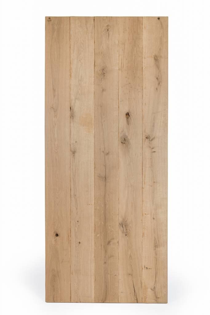 Eiken tafelblad rustiek VINTAGE 80x120x4 cm - RUW GEBORSTELD + V-GROEVEN - rechthoekig blad 10-12% kd Oost Europees eikenhout