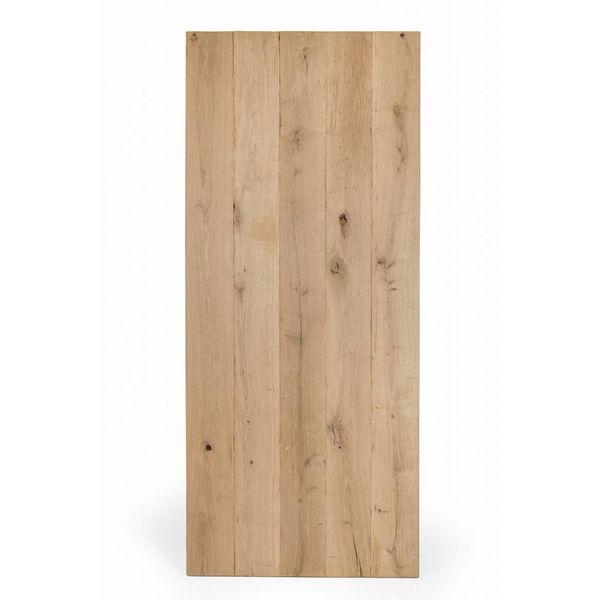 Eiken tafelblad rustiek VINTAGE 80x140x4 cm - RUW GEBORSTELD + V-GROEVEN - rechthoekig blad 10-12% kd Oost Europees eikenhout