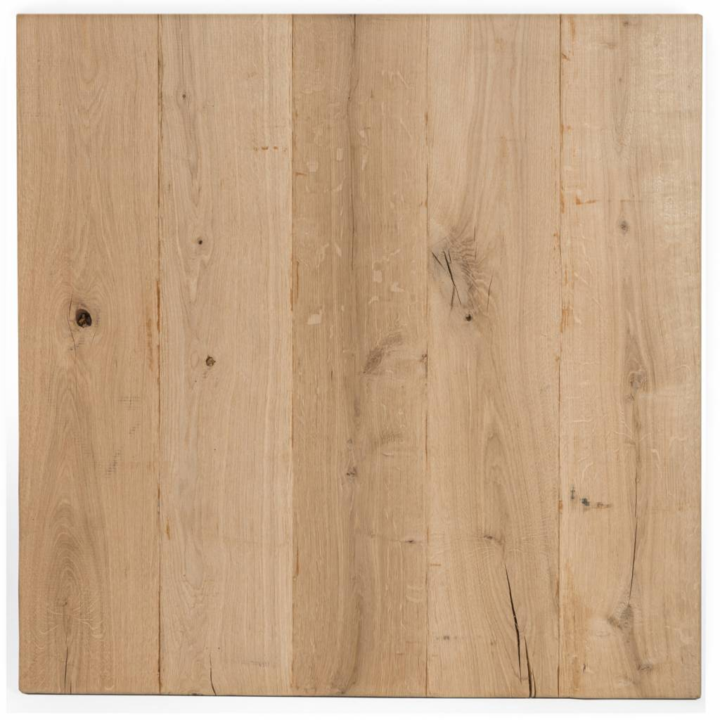 Eiken tafelblad rustiek VINTAGE 100x100x4 cm - RUW GEBORSTELD + V-GROEVEN - vierkant blad 10-12% kd Oost Europees eikenhout