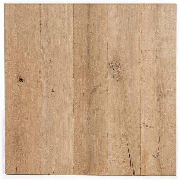 Eiken tafelblad rustiek VINTAGE 80x80x4 cm - RUW GEBORSTELD + V-GROEVEN - vierkant blad 10-12% kd Oost Europees eikenhout