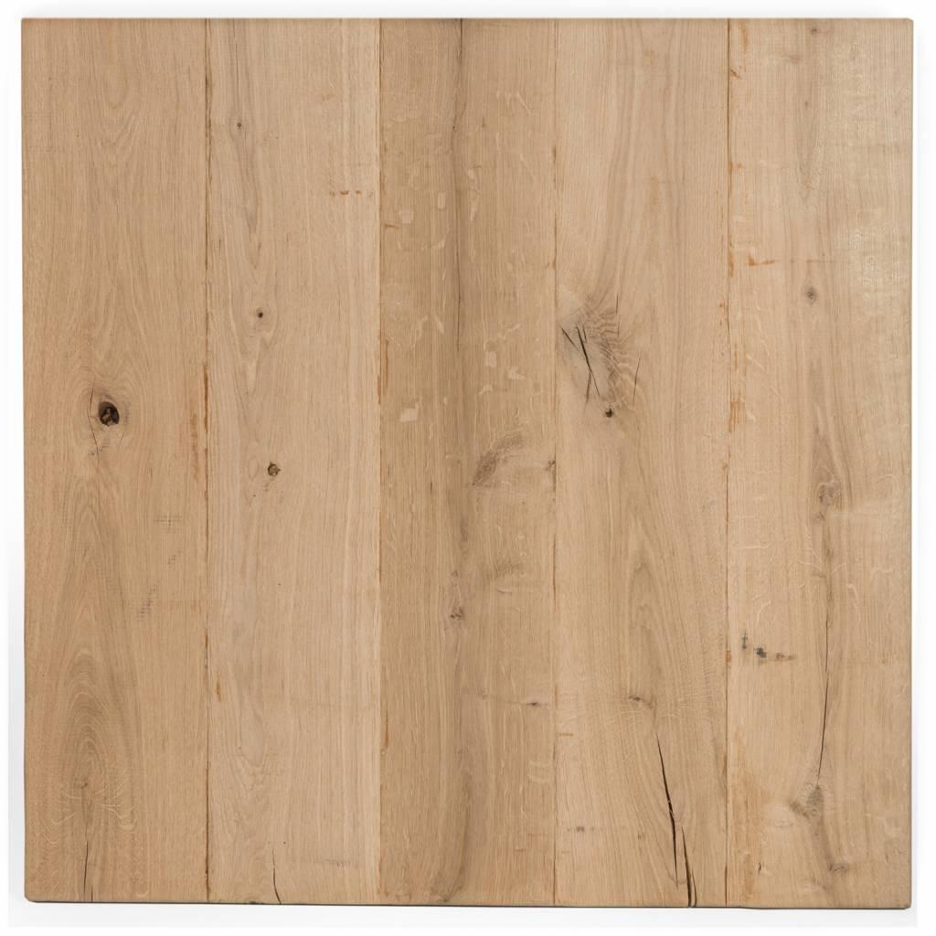 Eiken tafelblad rustiek VINTAGE 70x70x4 cm - RUW GEBORSTELD - vierkant blad 10-12% kd Oost Europees eikenhout
