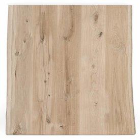 Eiken boomstam tafelblad rustiek 70x70x4 cm