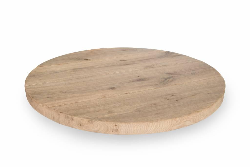 Eiken tafelblad rond 120 cm - 4,5 cm dik - Rustiek ruw geborsteld - 10-12% kd Oost Europees eikenhout