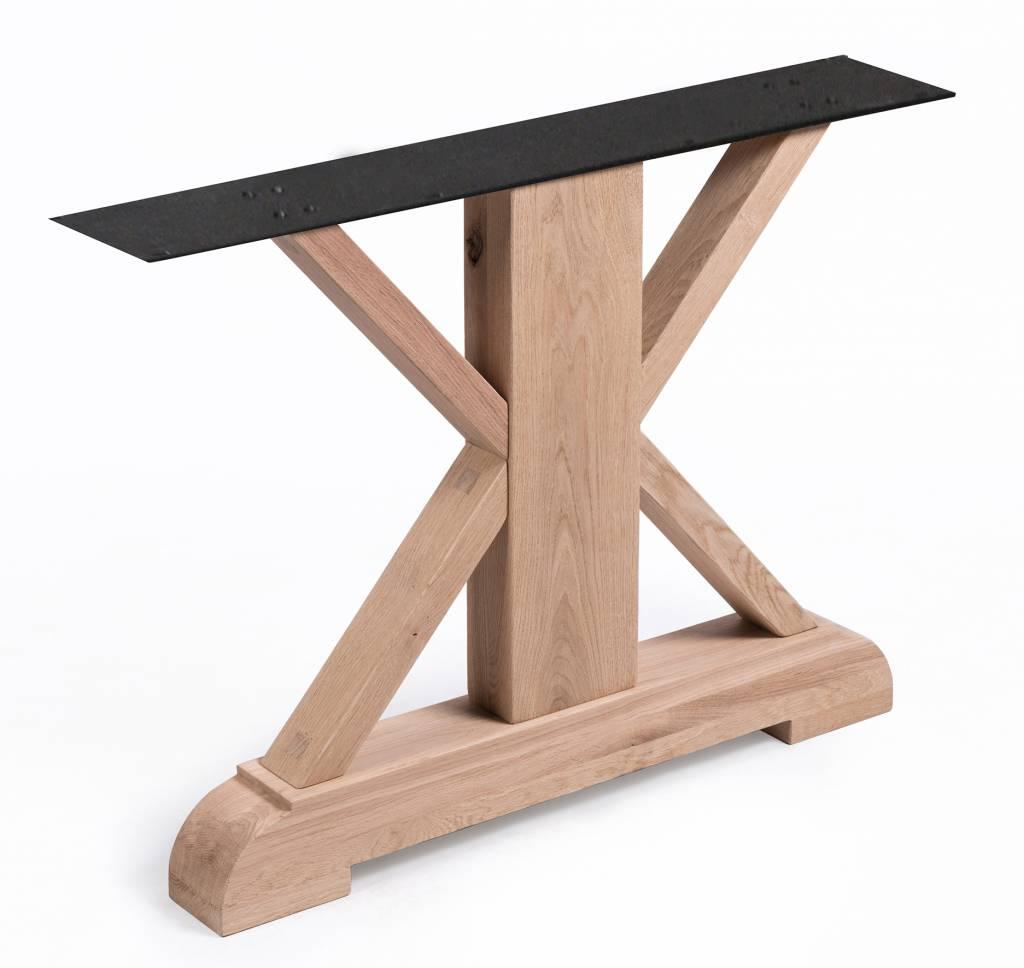 Eiken tafelpoot landelijk SET (2 stuks) - 78-86 cm hoog - 96 cm breed - Rustiek licht geborsteld - A-tafelpoot 12% kd Europees eikenhout