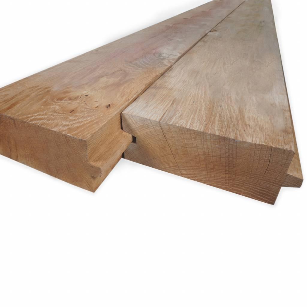 Eiken damwand deel - profiel - plank 45x125mm -  Geschaafd en aangedroogd Eikenhout