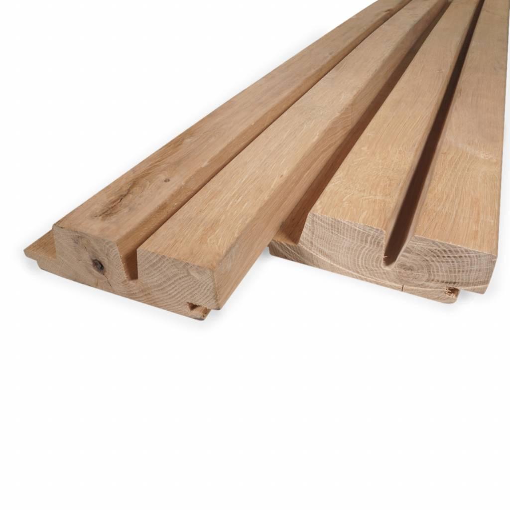 Eiken dubbel rhombus rabatdeel 28x115mm (werkende breedte) -  Geschaafd en aangedroogd Eikenhout