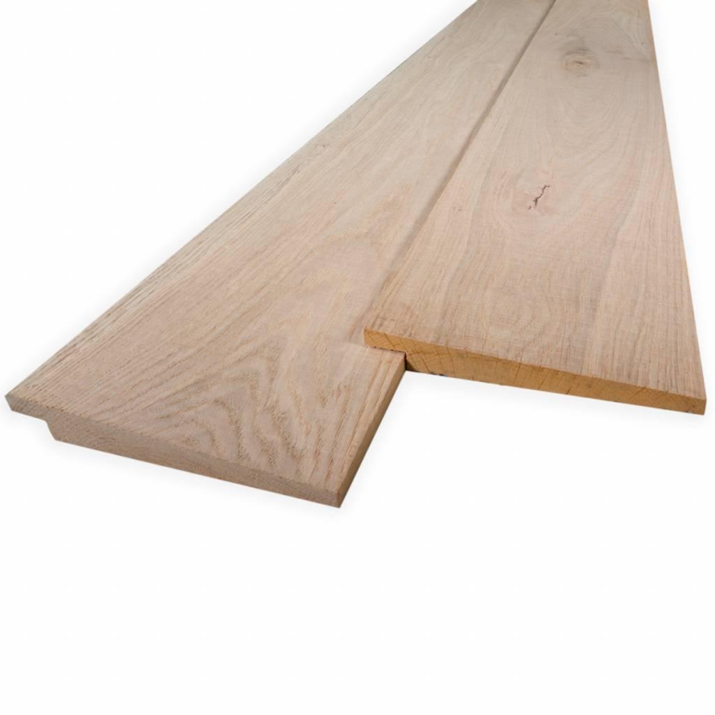 Eiken Zweeds rabat- potdeksel - bevelseding plank 8-22x155mm - Zichtzijde fijnbezaagd (ruw) en aangedroogd (ad 20-25%) eikenhout - vanaf 100 cm