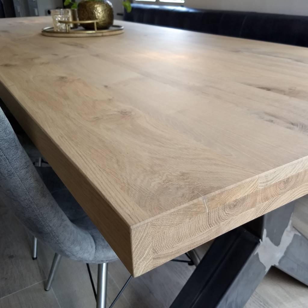 Wit Tafelblad Op Maat.Eiken Tafelblad Rustiek 6 Cm Dik Op Maat 8 12 Kd Europees Eikenhout