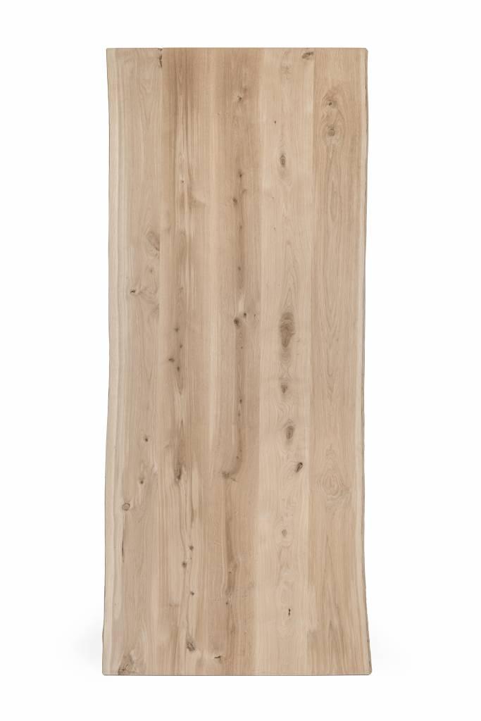 Eiken boomstam tafelblad met waankant rustiek 80x160x4 cm - 10-12% kd Oost Europees eikenhout