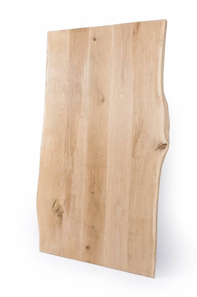 Eiken boomstam tafelblad met waankant rustiek 90x180x4 cm - 10-12% kd Oost Europees eikenhout