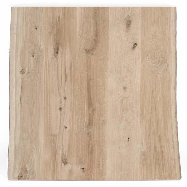 Eiken boomstam tafelblad rustiek 100x100x4 cm