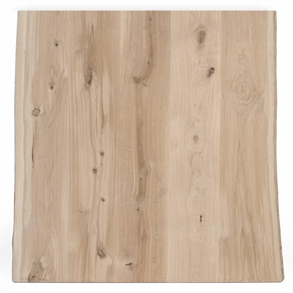 Eiken boomstam tafelblad met waankant rustiek 100x100x4 cm - vierkant tafelblad 10-12% kd Oost Europees eikenhout