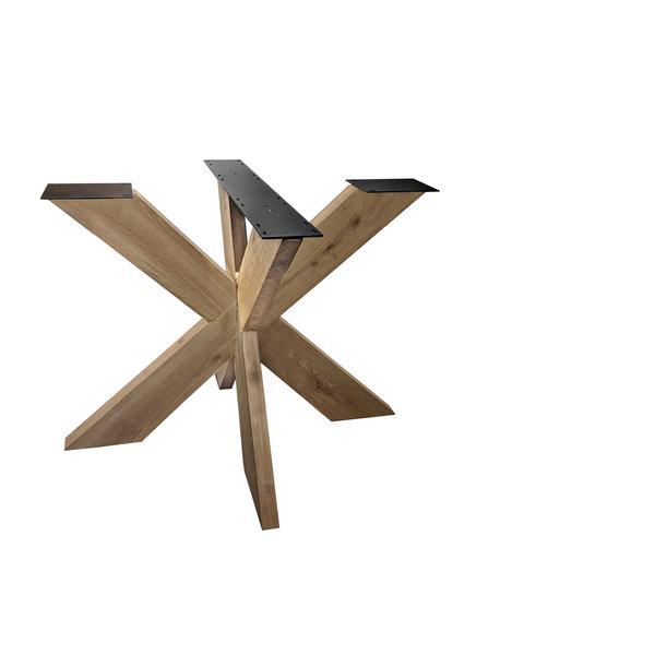 Eiken dubbele kruispoot 16x6 cm - 72 cm hoog - 130x130 cm -  Rustiek licht geborsteld