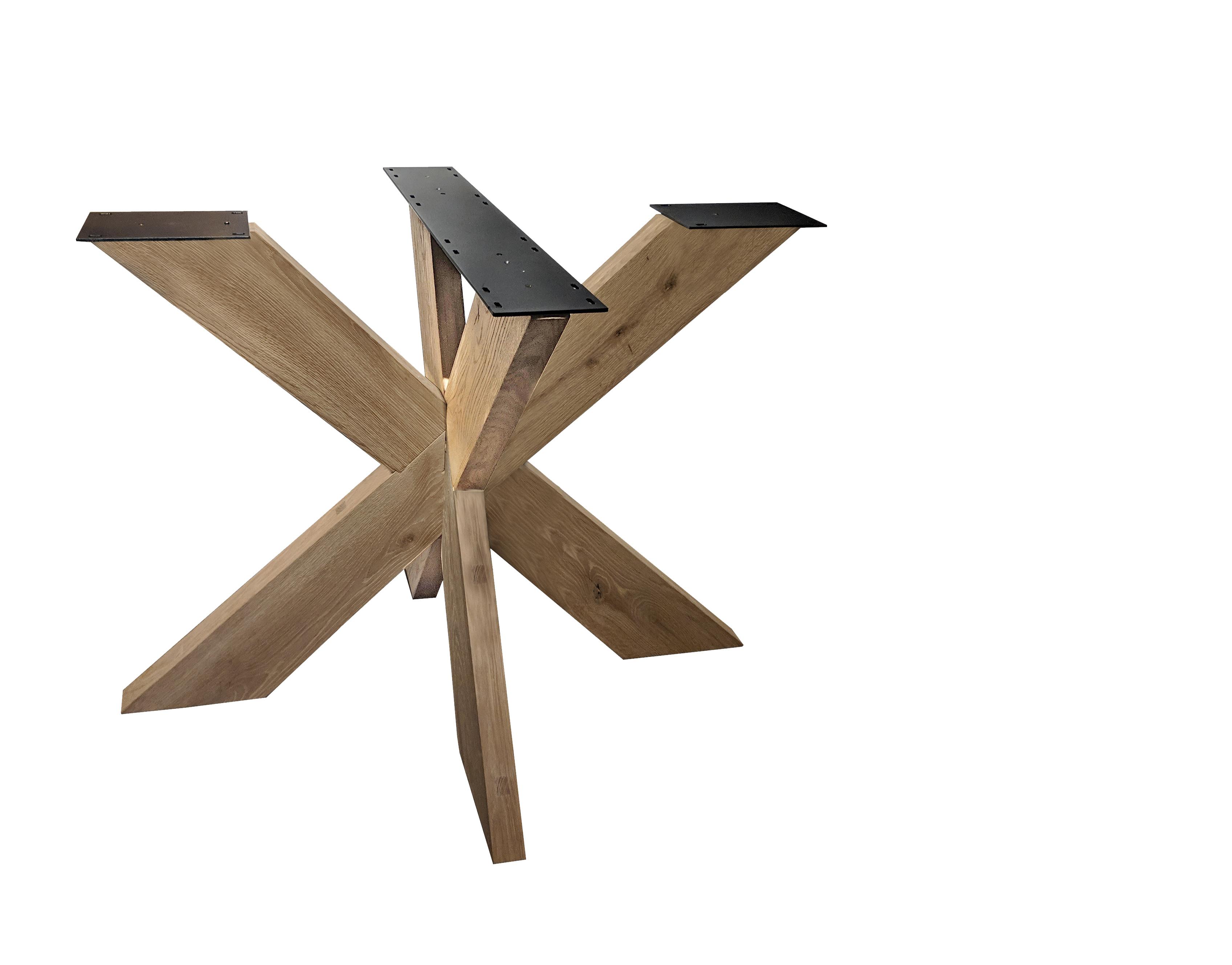 Eiken dubbele kruispoot 16x6 cm - 72 cm hoog - 130x130 cm  - Rustiek licht geborsteld -  3D kruis / X-poot - 12% kd Europees eikenhout