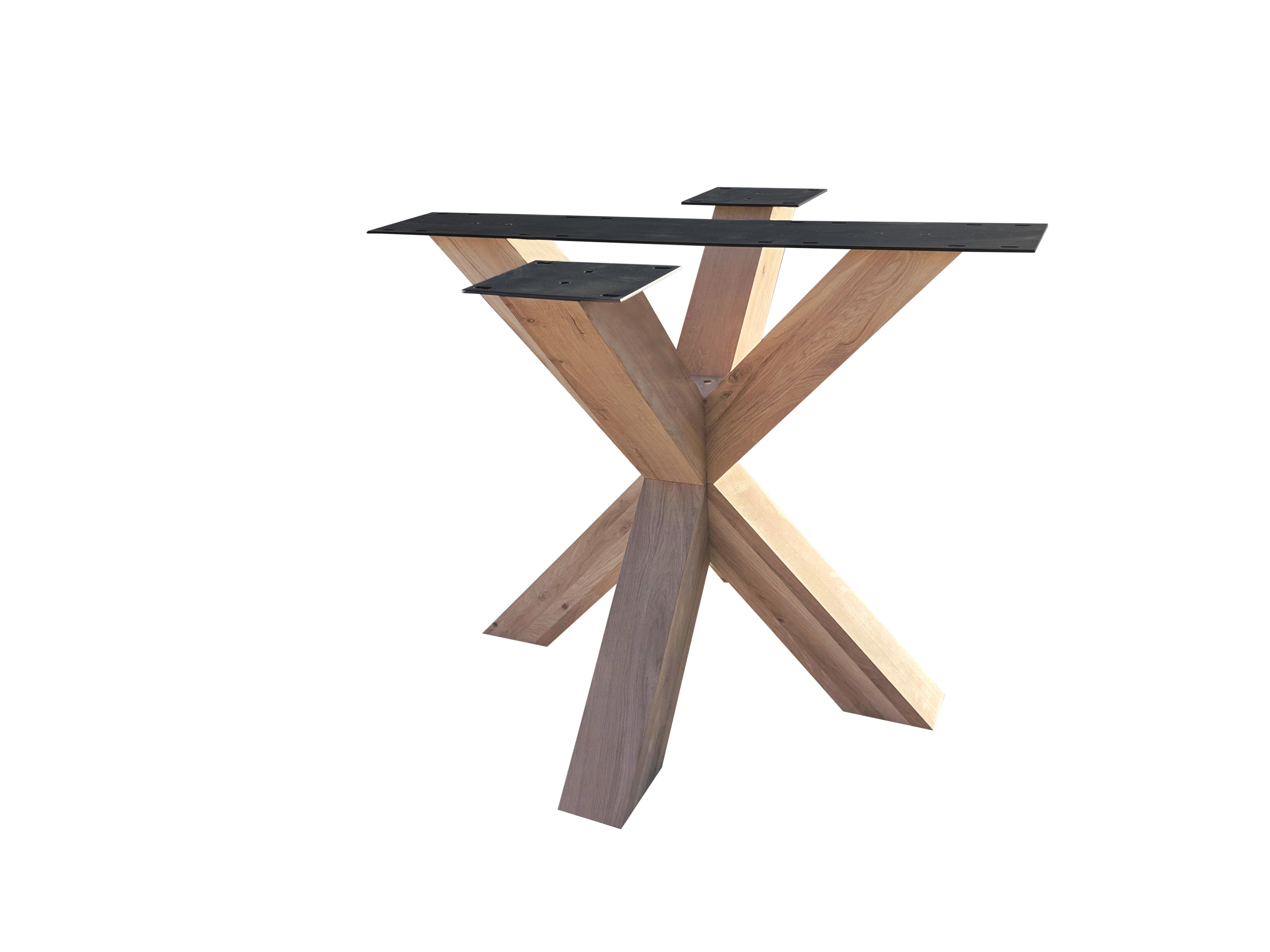Eiken dubbele kruispoot 10x10 cm - 72 cm hoog - 90x90 cm -  Rustiek licht geborsteld - Dubbele X tafelpoot - 12% kd Europees eikenhout