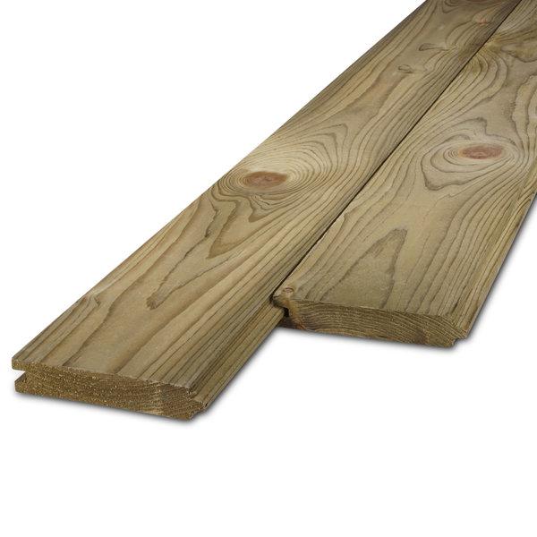Vuren tand-en-groef plank 22x125mm geschaafd en geïmpregneerd