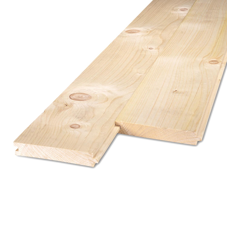 Vuren tand-en-groef plank 22x100mm geschaafd  C24 klasse