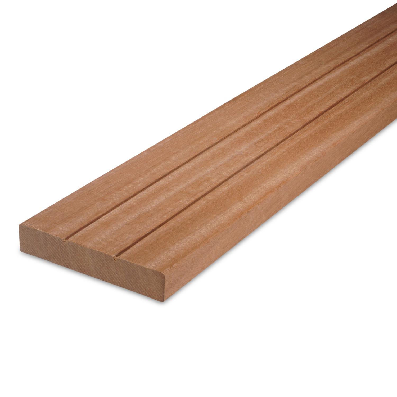 Bankirai Red Balau (2-groefs) plank 28x145mm - geschaafd - schuttingplank incl. 2 V-groeven - tropisch hardhout kd (10-13%)