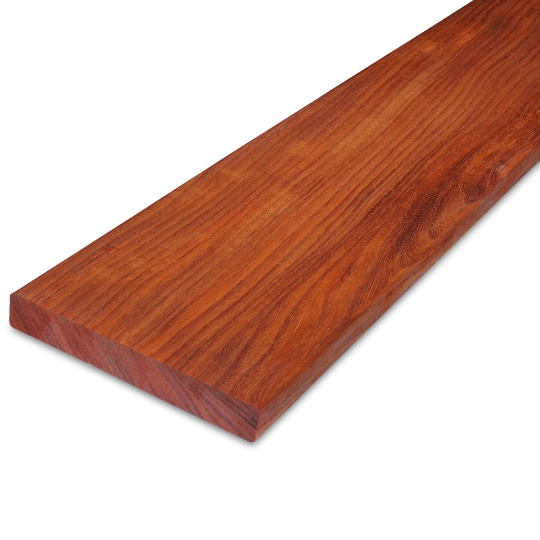 Padouk hardhouten plank 21x143mm - geschaafd padoek - tropisch hardhout - ad (aangedroogd)