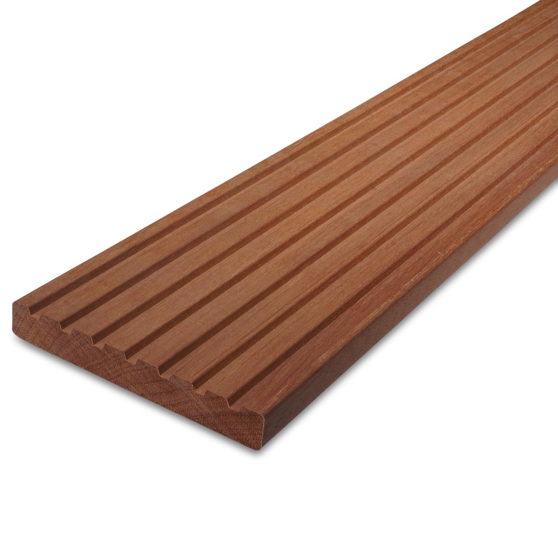 Massaranduba vlonderplank - loopdekdeel - terrasplank - 7-groefs - 21x143mm - geschaafd - tropisch hardhout - ad (aangedroogd)