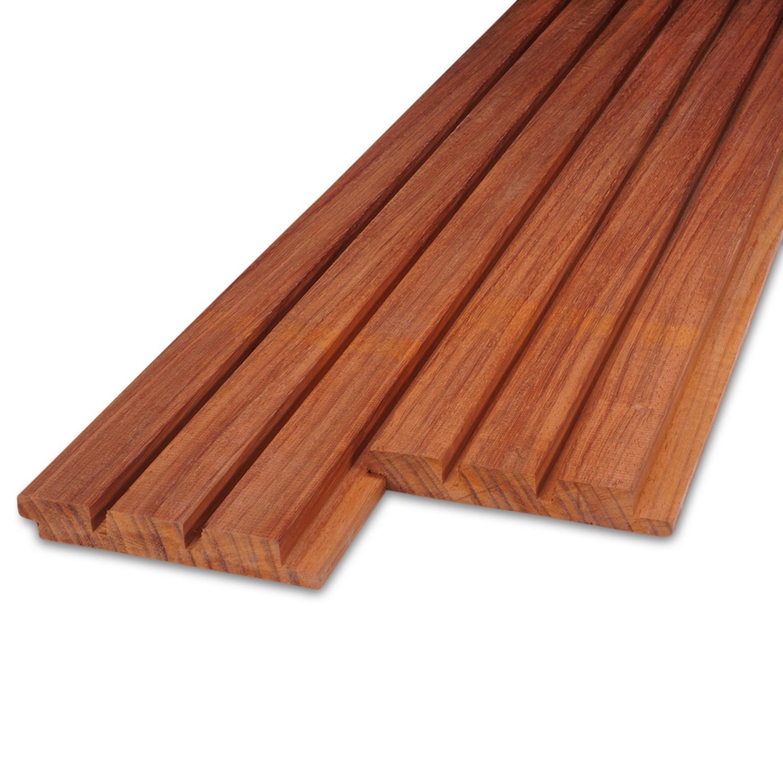 Padouk hardhout Deens rabat blokprofiel 21x143mm (werkend: 125mm) geschaafd - tropisch hardhout - ad (aangedroogd)