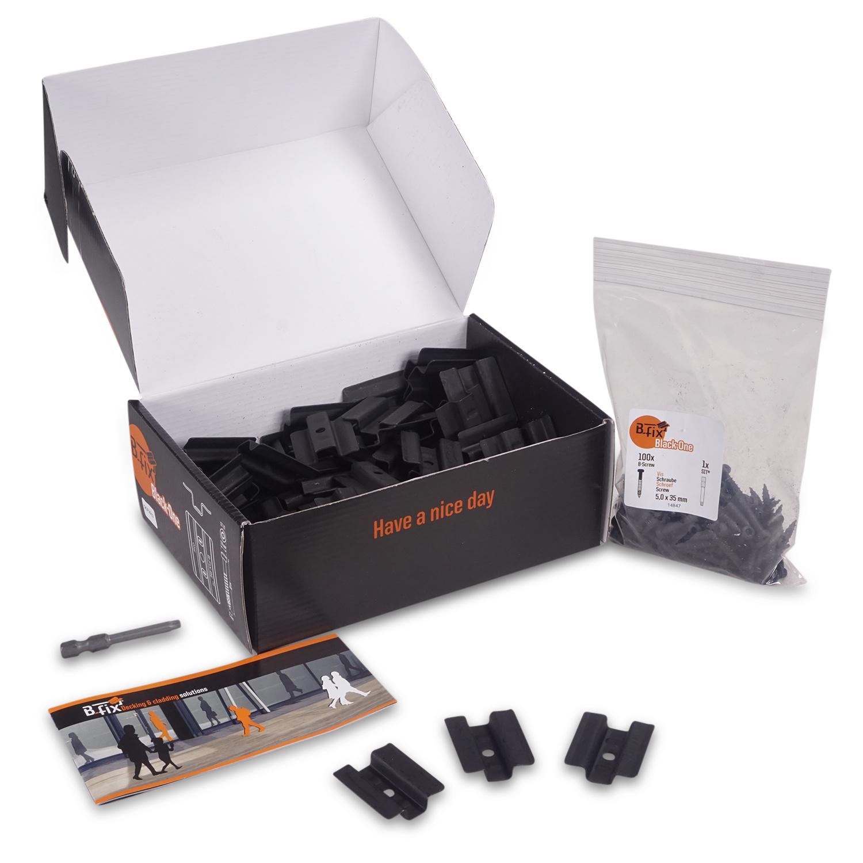 B-fix - BFIX BLACK ONE - montageclips zwart RVS - Inox - blinde bevestiging - 100 stuks