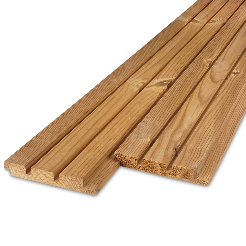 Thermowood grenen Deens rabat blokprofiel - 21x143mm (werkend: 125mm) - geschaafd - kunstmatig gedroogd (kd 8-12%) - thermisch gemodificeerd grenen hout (thermohout)
