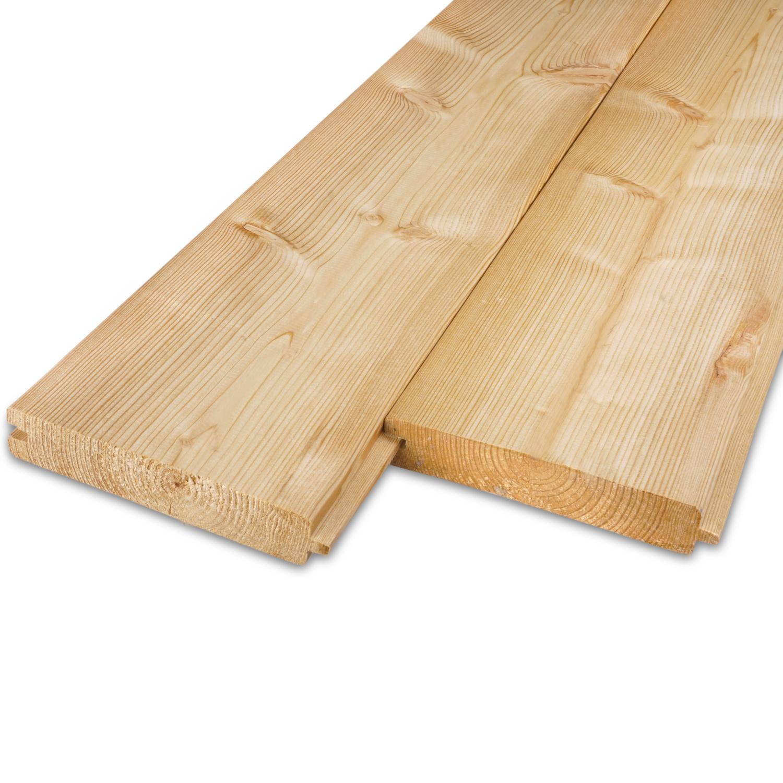 Siberisch lariks vellingdeel 28x135mm - tong & groef plank - geschaafd - kunstmatig gedroogd (kd 18-20%)