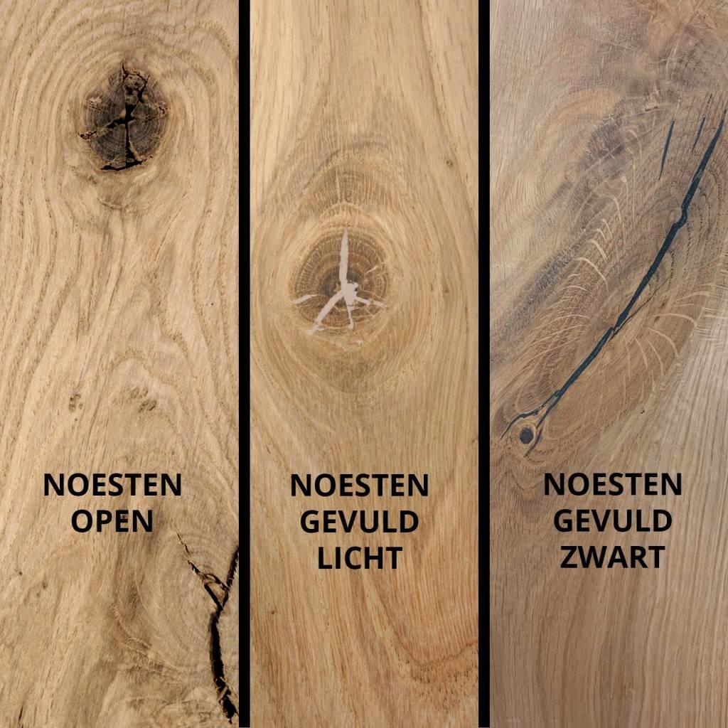 Eiken tafelblad rustiek 4 cm dik (2-laags) geborsteld OP MAAT - 8-12% kd Europees eikenhout