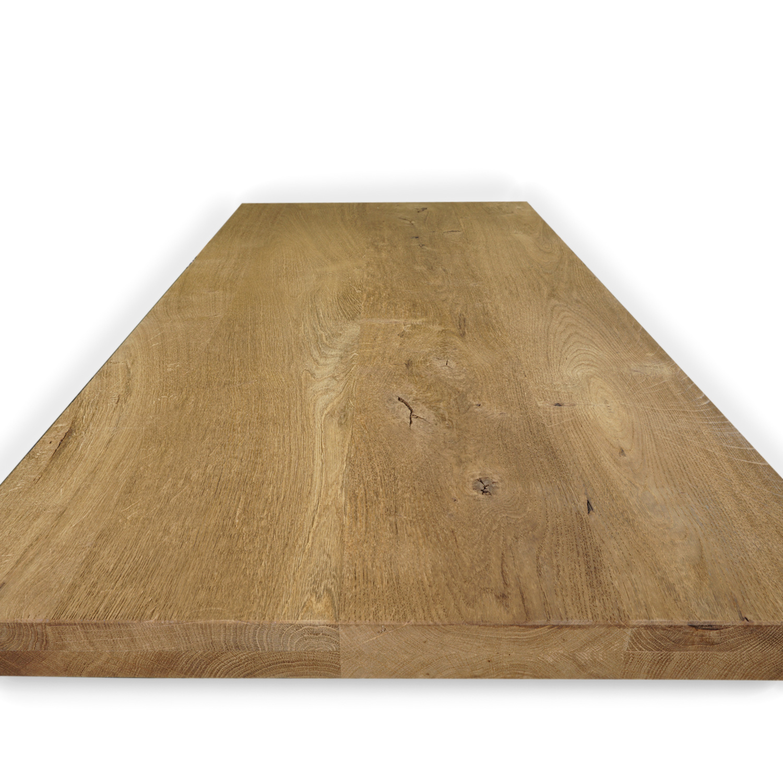 Eiken tafelblad rustiek 4 cm dik (2-laags) -  Geborsteld en Gerookt - OP MAAT - 8-12% kd Europees eikenhout (verouderd)