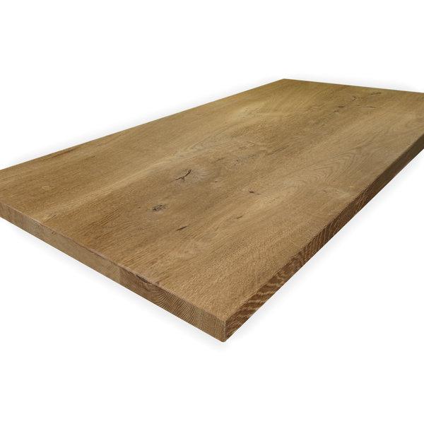 Eiken tafelblad rustiek 4 cm dik geborsteld en gerookt - 1 plank -OP MAAT