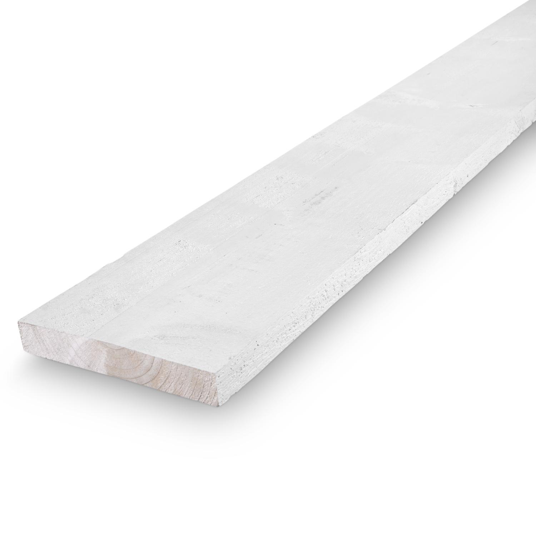 Vuren steigerplank whitewash 30x195mm - Ruw droog steigerhout - wit gebeitst
